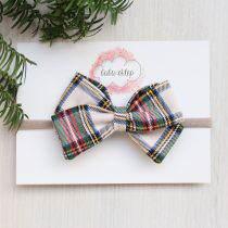 Kokardka- Christmas tartan- green-opaska