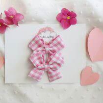 Kokardki mini- Różowa krateczka