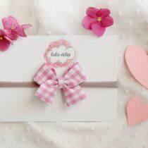 Kokardka mini- Różowa krateczka- opaska