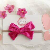 Kokardka- Różowy aksamit- opaska